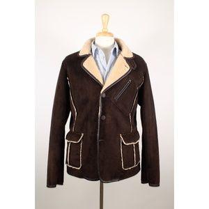 Armani Jeans AJ XL Brown Faux Suede Leather Coat